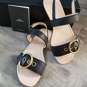 Coach black and tan leather sandals